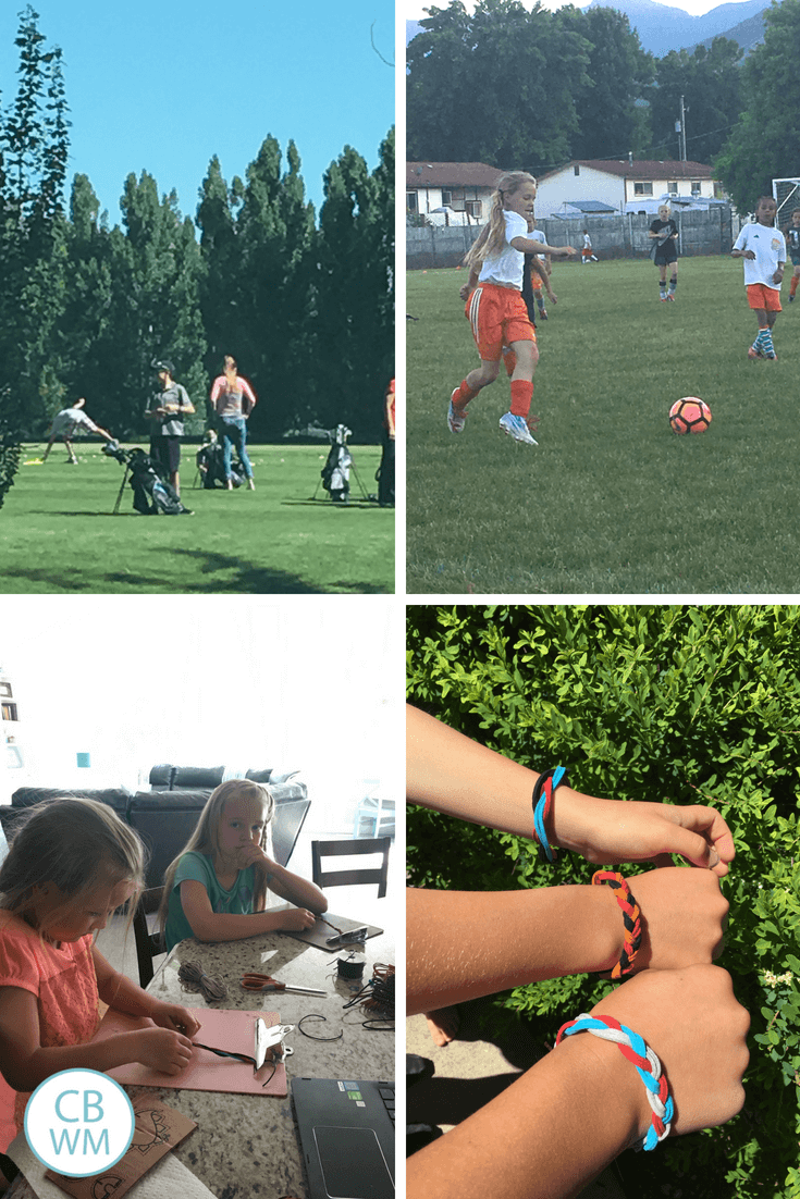 golf camp, soccer, leather bracelets