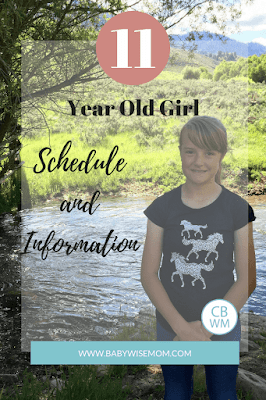 Eleven year old preteen girl information. Schedule, extra curricular activities, and more. See how this former Babywise baby is doing at age 11