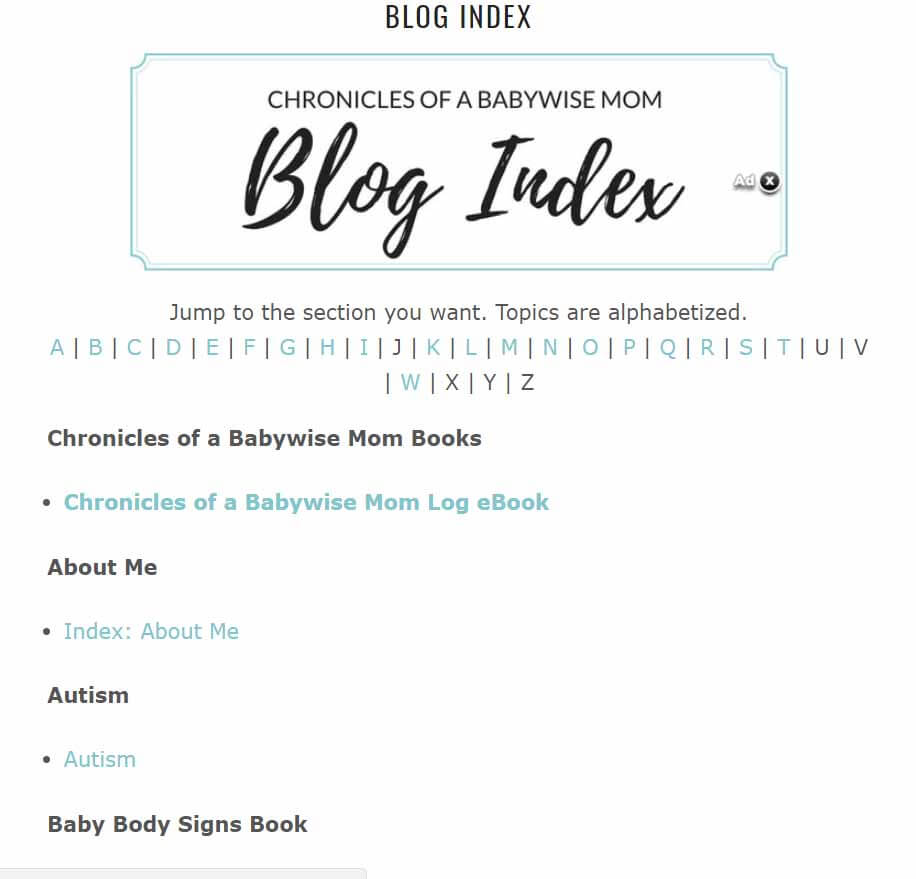 Chronicles of a Babywise Mom Blog Index Screenshot