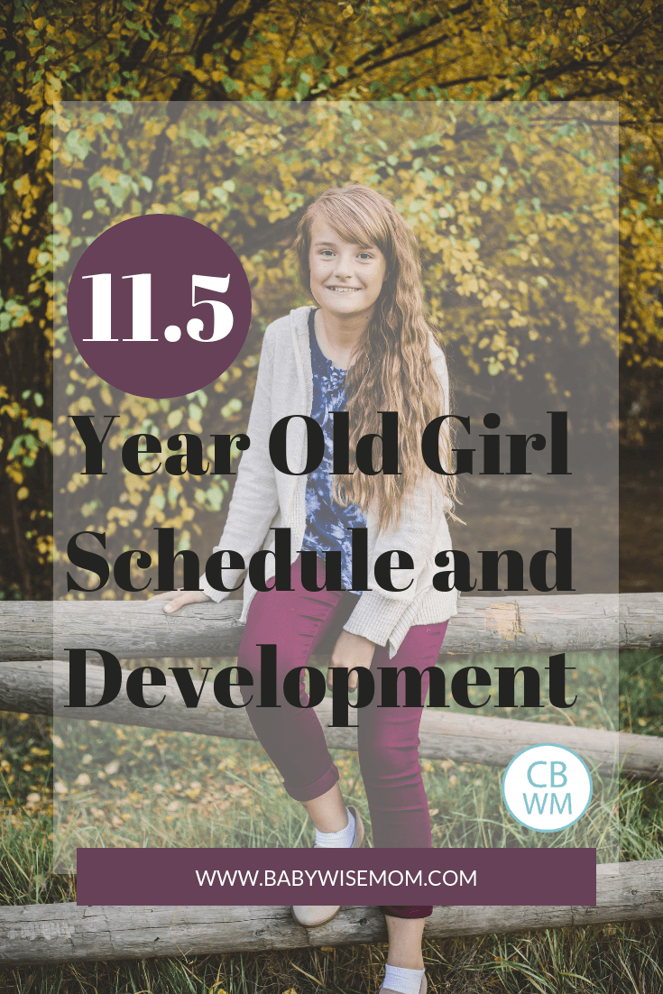 11.5 year old girl schedule and development with girl sitting on fence