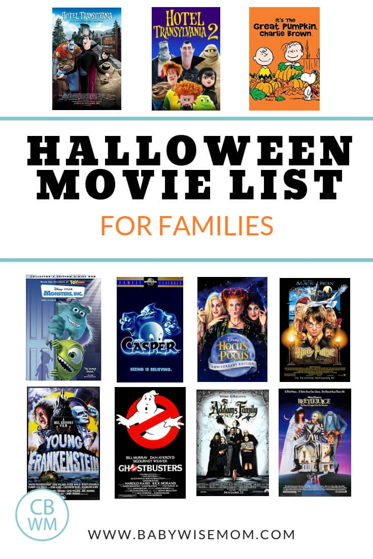 Halloween Movie List for families with 11 Halloween movie covers