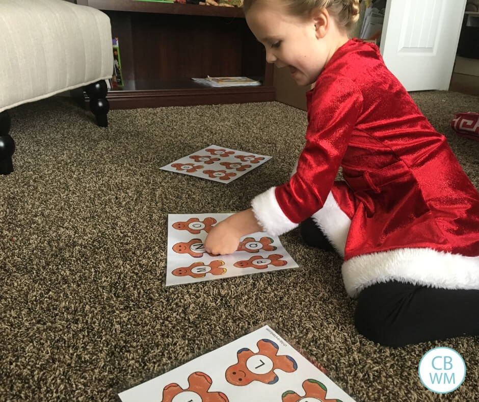 preschooler doing a Christmas learning activity