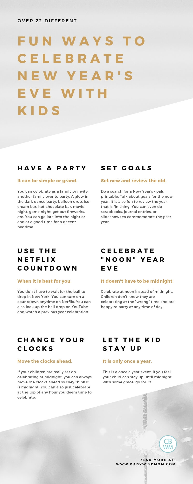 Over 22 ways to celebrate New Year's Eve. How to celebrate New Year's Eve with kids. Family activities and ideas to ring in the new year and party with your children.