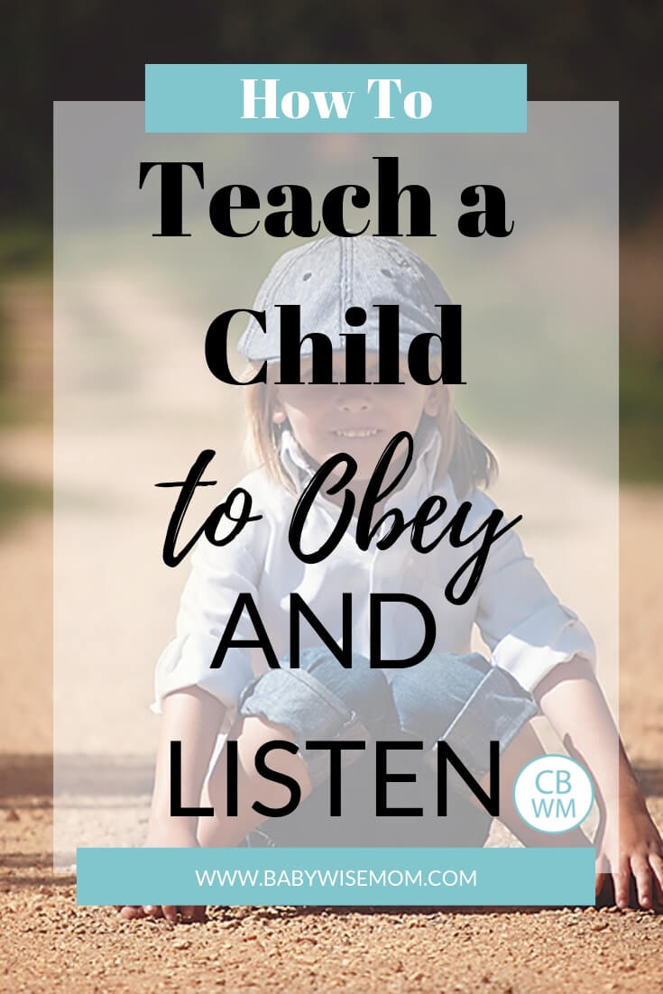 Boy sitting on a dirt road facing the camera with text overlay that says How to Teach a Child to Obey and Listen