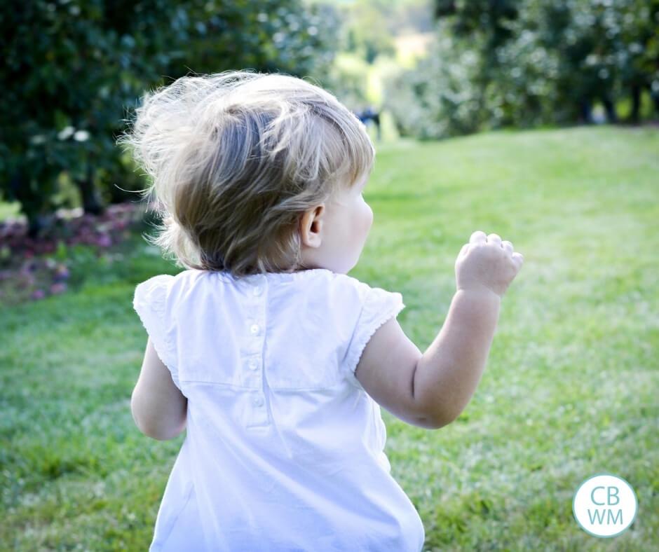 Child running on grass