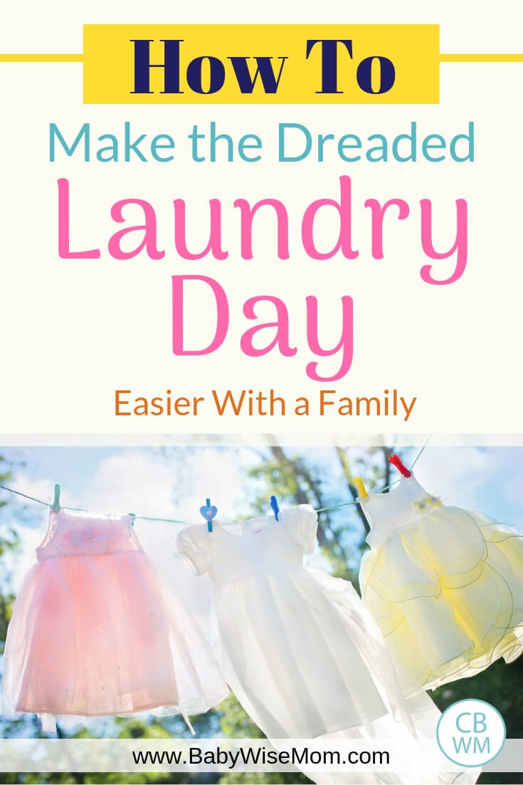 How to make laundry day easier for families with a picture of dresses hanging on the clothes line