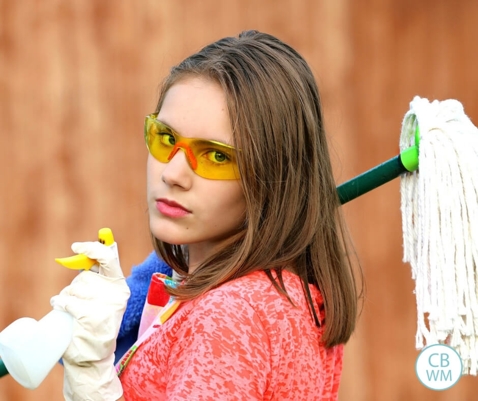 Woman holding cleaning supplies