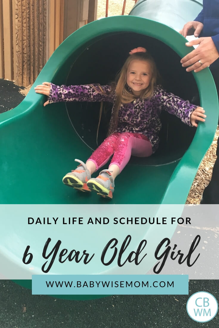 Daily life and schedule for a 6 year old girl with a picture of a 6 year old girl on a slide