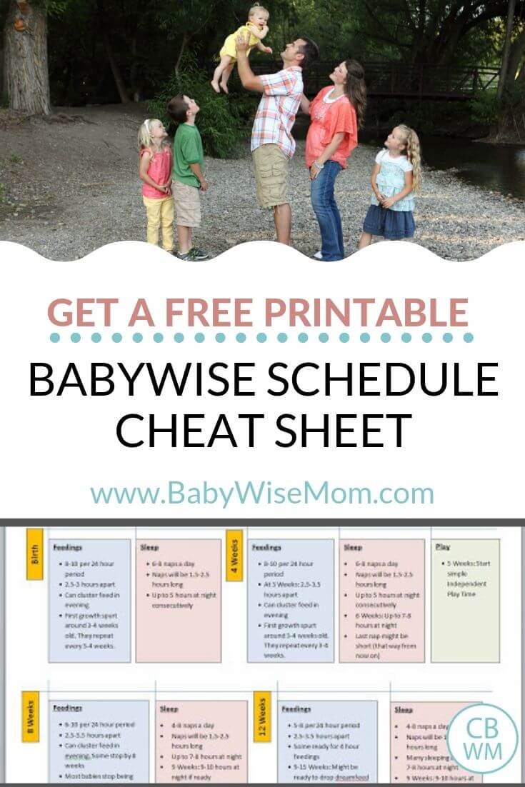 Get a free printable Babywise Schedule Cheat Sheet