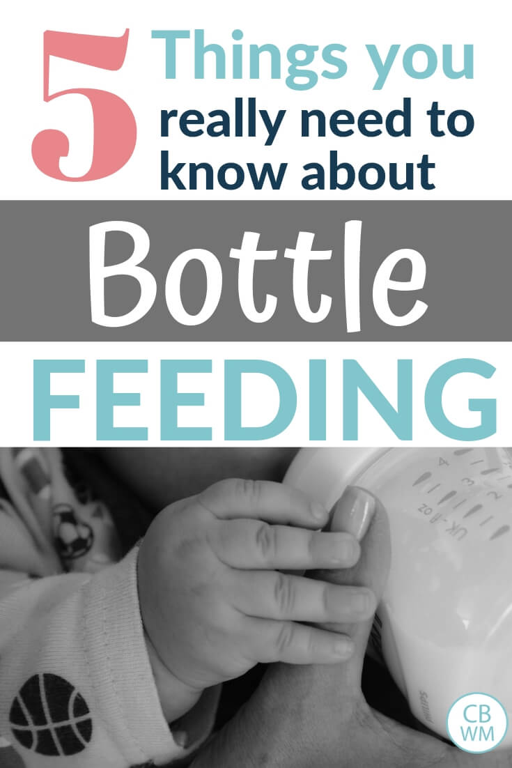 5 things you really need to know about bottle feeding with a black and white picture of a baby drinking from a botle