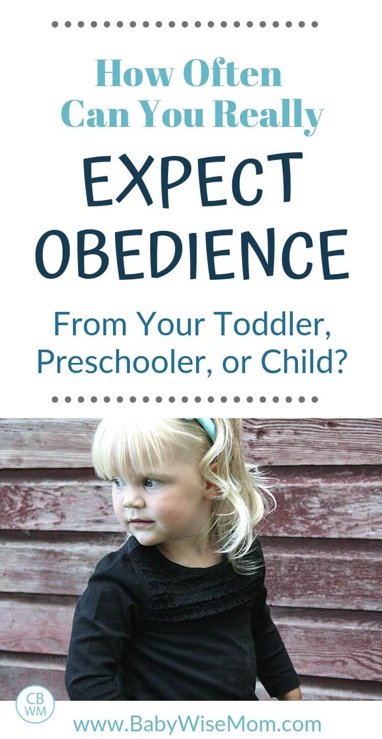 How often can you really expect obedience from your toddler, preschooler, or child with a picture of a toddler looking over her shoulder