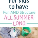 Summer schedules for kids pinnable image with a picture a child in the sand