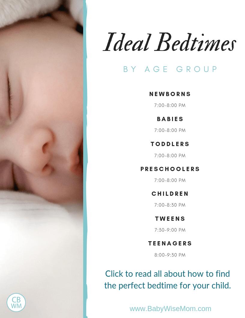 Ideal bedtimes chart