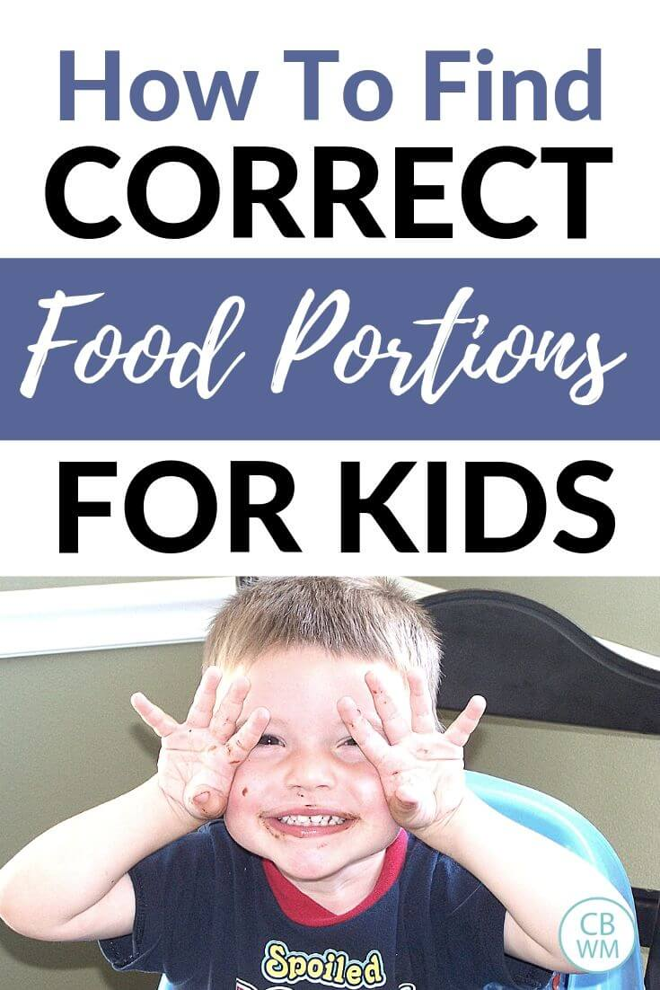Correct food portions for kids pinnable image