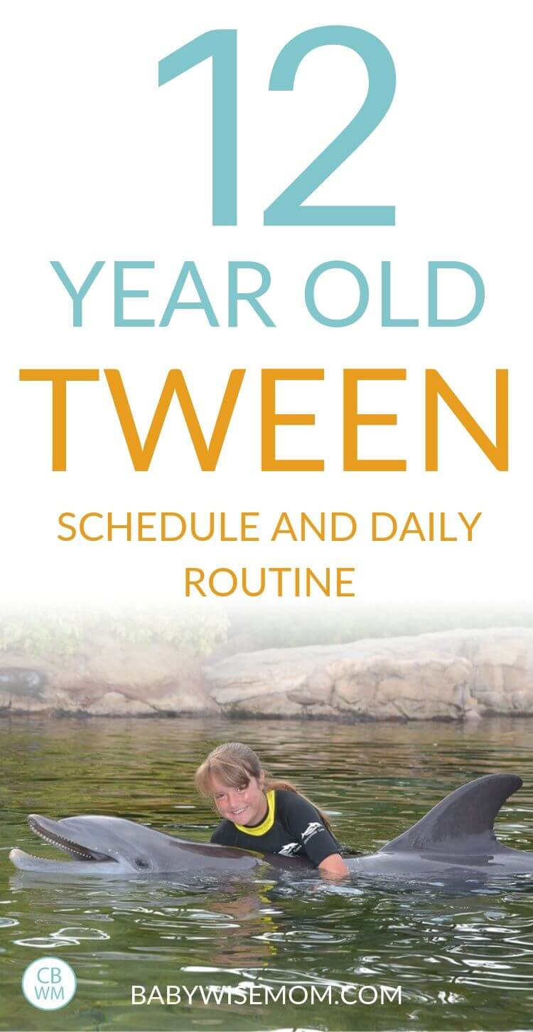 12 year old tween schedule and routine pinnable image