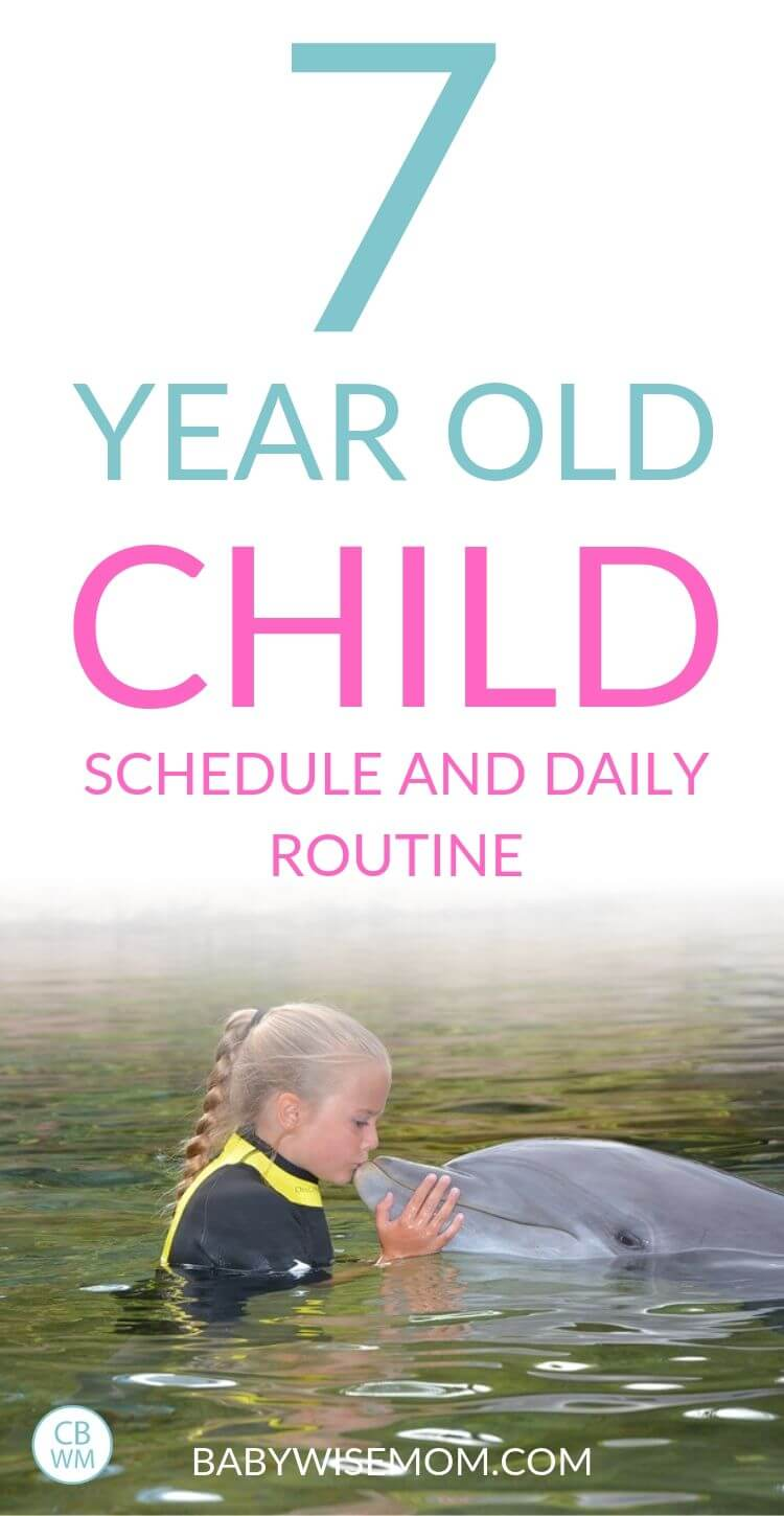7 year old child routine and schedule pinnable image