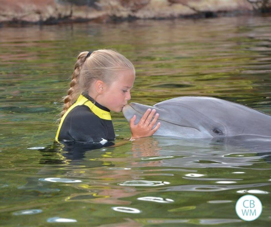 Girl kissing a dolphin