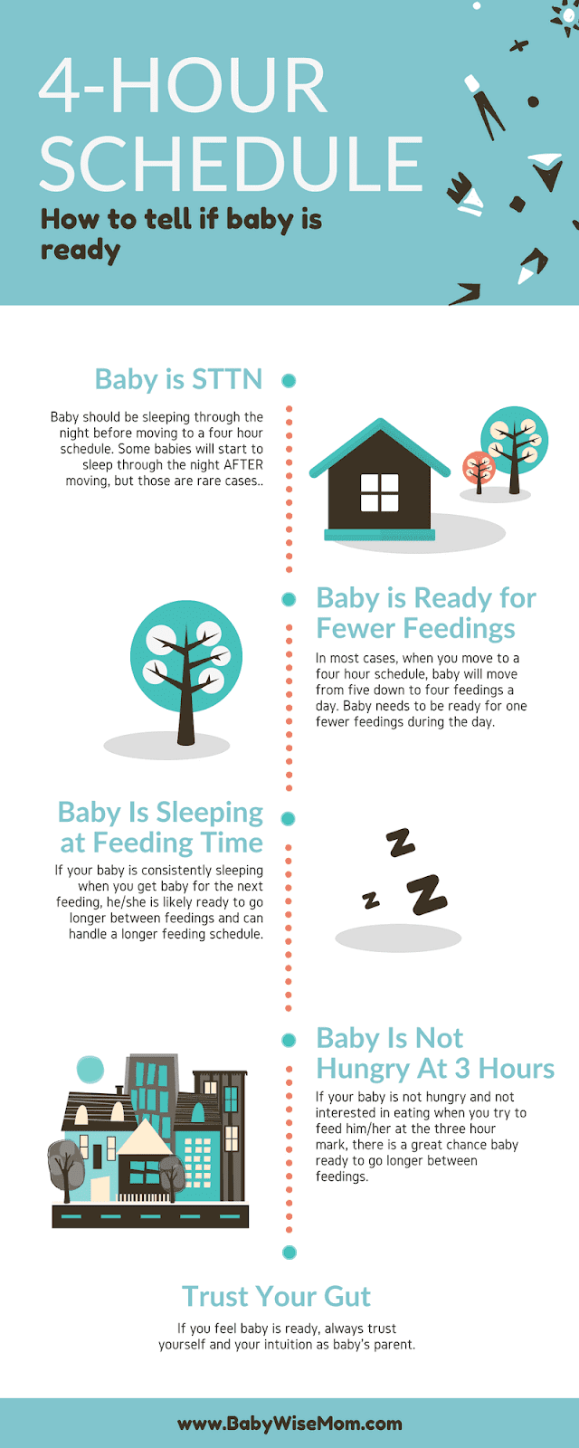 4 Hour Schedule Information. When baby is ready for a four hour schedule.