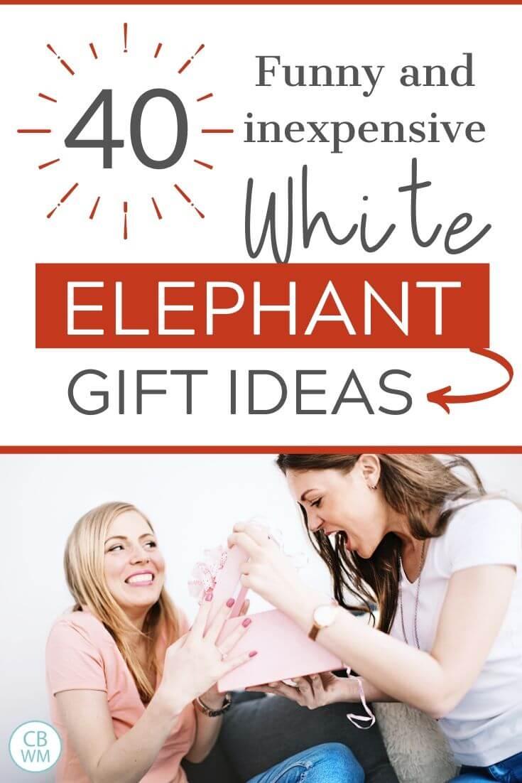 White Elephant gift ideas pinnable image