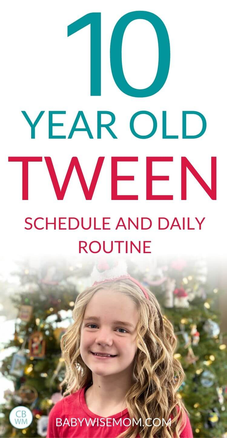 10 year old tween schedule and routine pinnable image