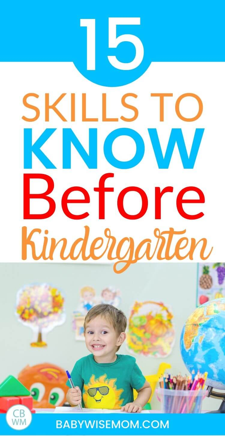 15 skills to know before kindergarten pinnable image.