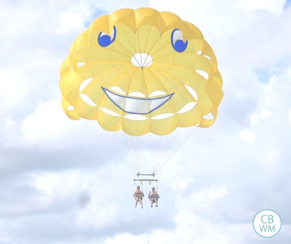 Parasailing in Playa del Carmen Mexico.