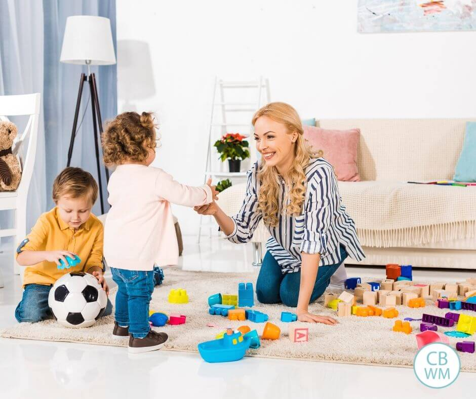 Mom doing indoor activities at home with kids