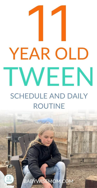 11 year old tween schedule pinnable image