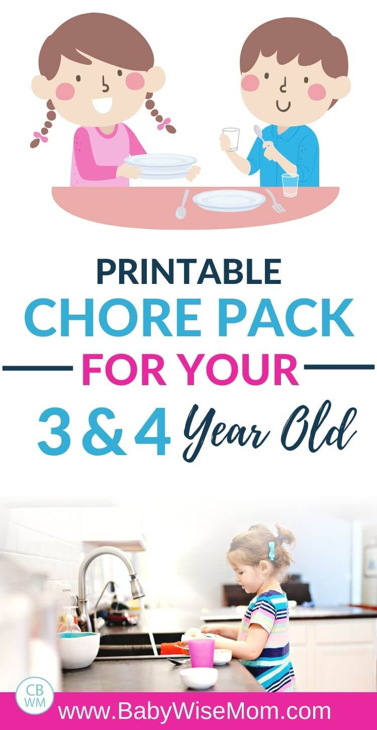 Printable Chore Pack for 3-4 year olds pinnable image