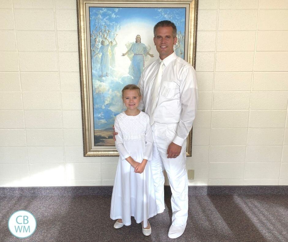 8 year old Brinley at her baptism