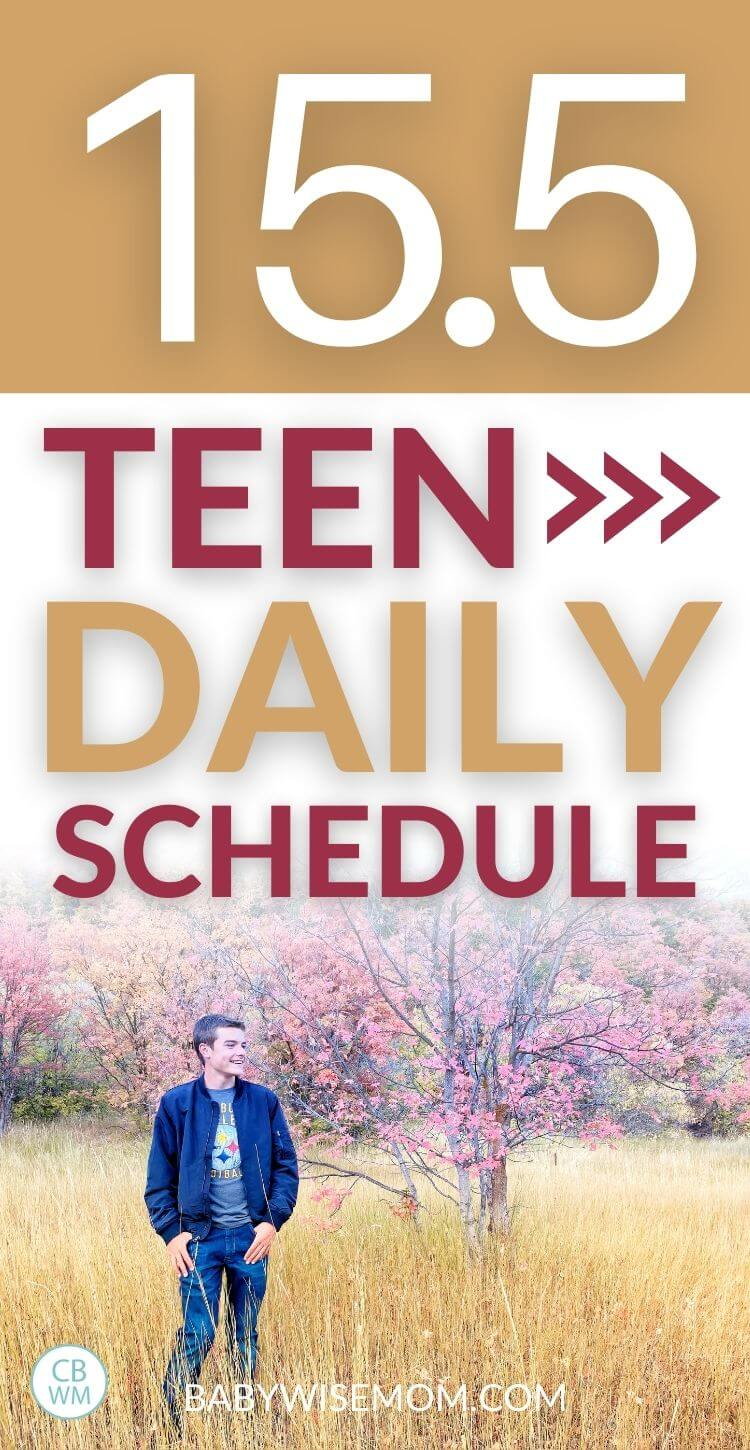 15.5 year old teen daily schedule