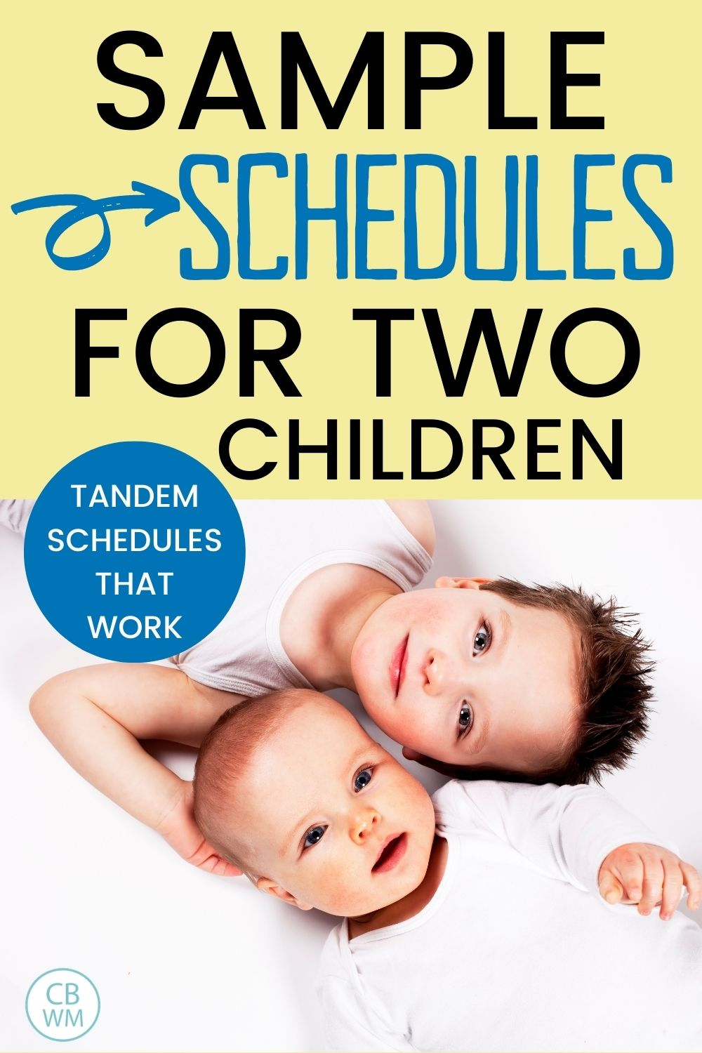 sample schedules for two kids pinnable image