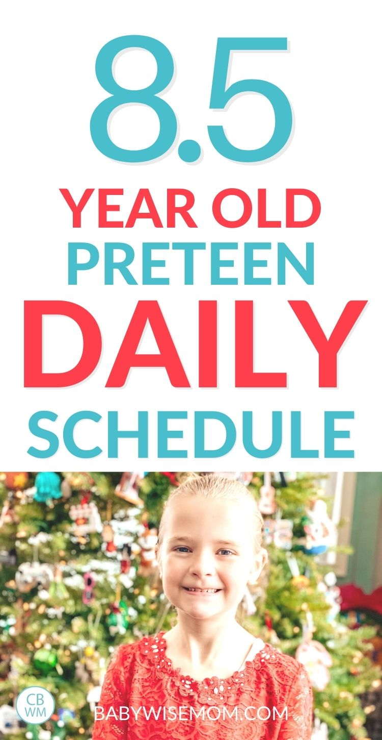 8.5 year old preteen daily schedule