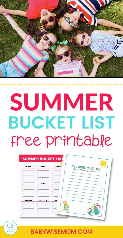 Summer Bucket List for Kids Free Printables