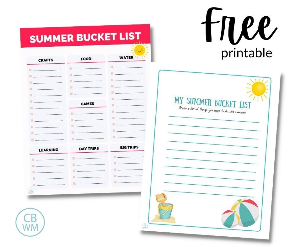 Summer bucket list free printables