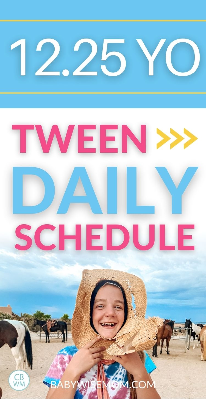 12 year old tween daily schedule pinnable image