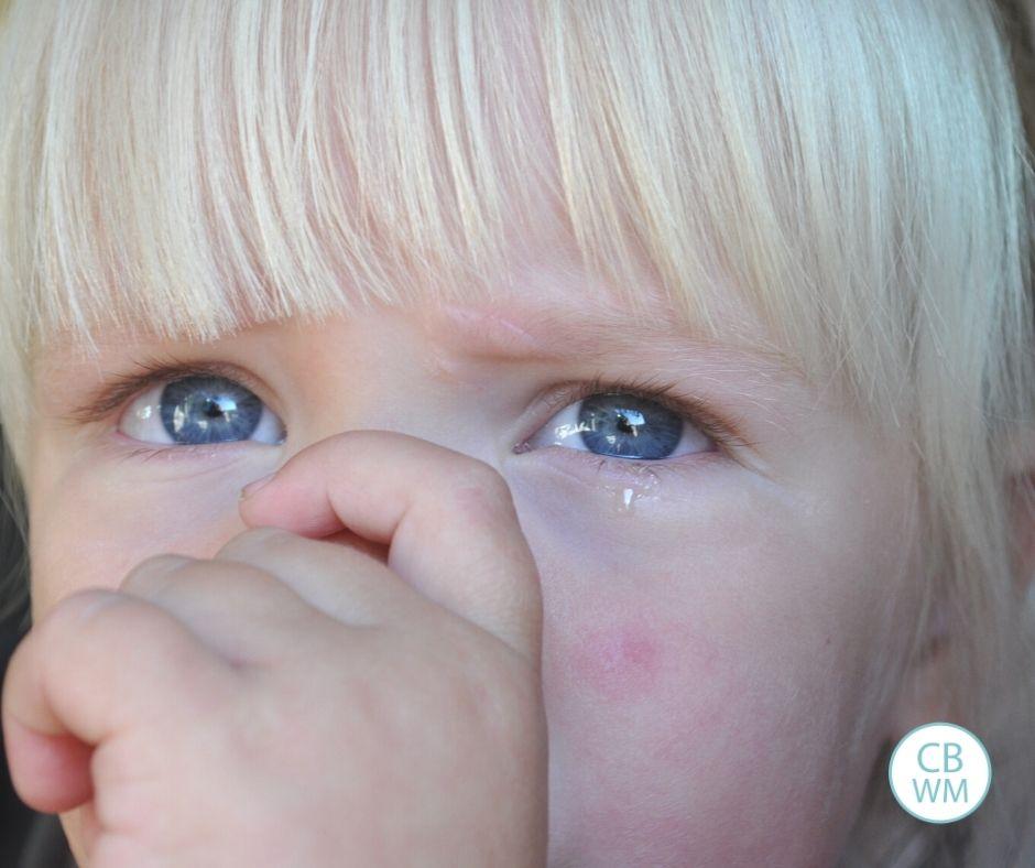 Sad McKenna on Kaitlyn's first day of preschool