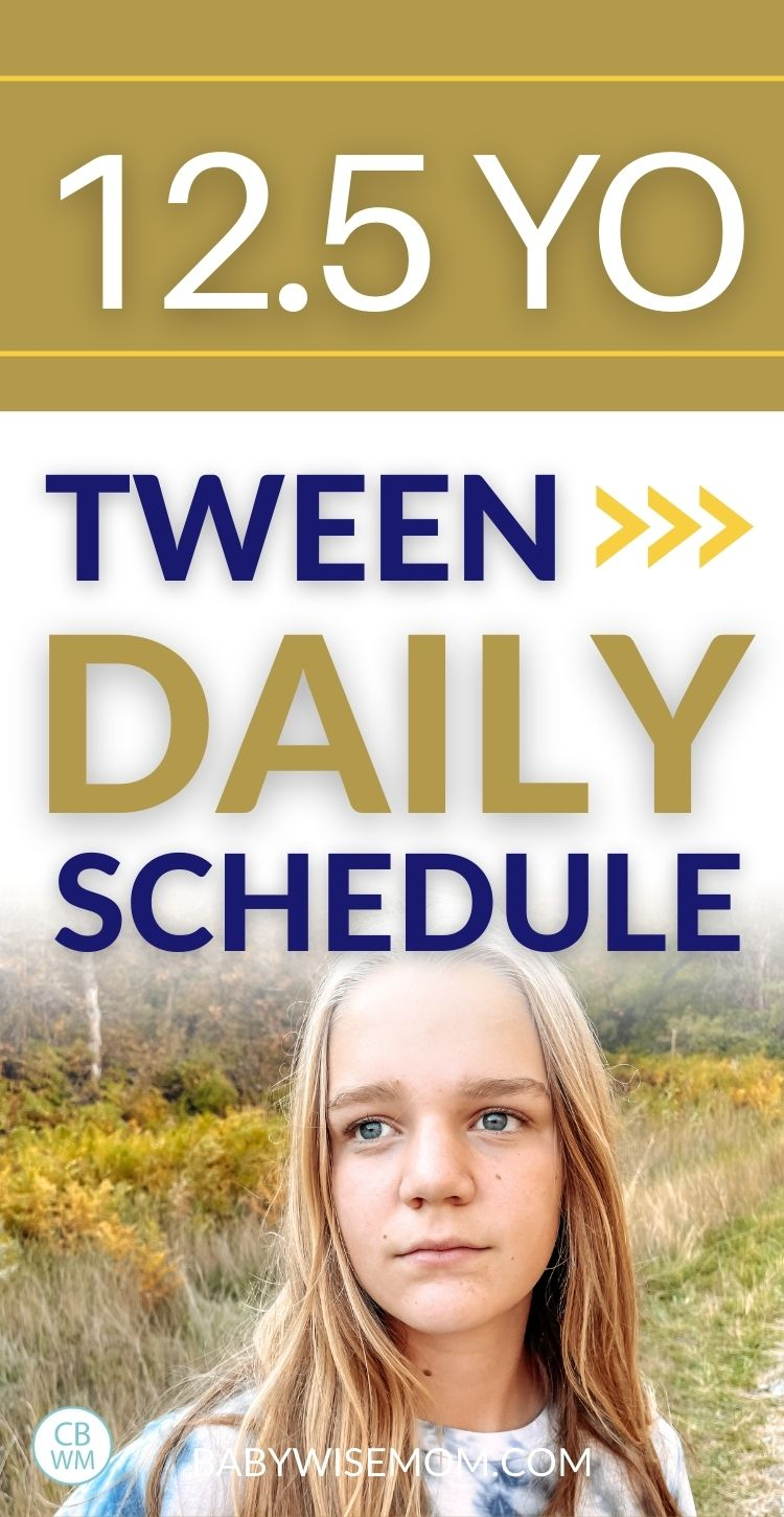 12.5 year old daily schedule